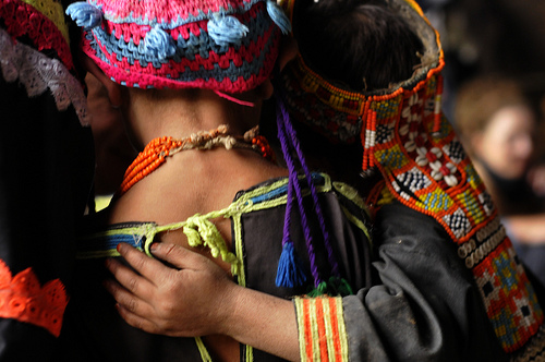 Kalasha girls in their distinctive dresses